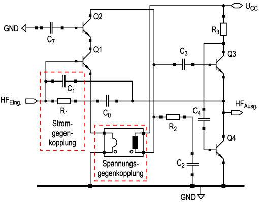 Bild 2 Durch die Spannungs- und Stromgegenkopplung werden die Linearitätsfehler korrigiert, die der unsymmetrische Eingang der HF-Vorstufe mit sich bringt.