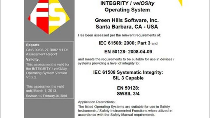 Green Hills Urkunde Zerfizierung