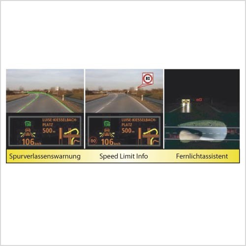 Mit nur einer Kamera lassen sich drei verschiedene Assistenzfunktionen abbilden.