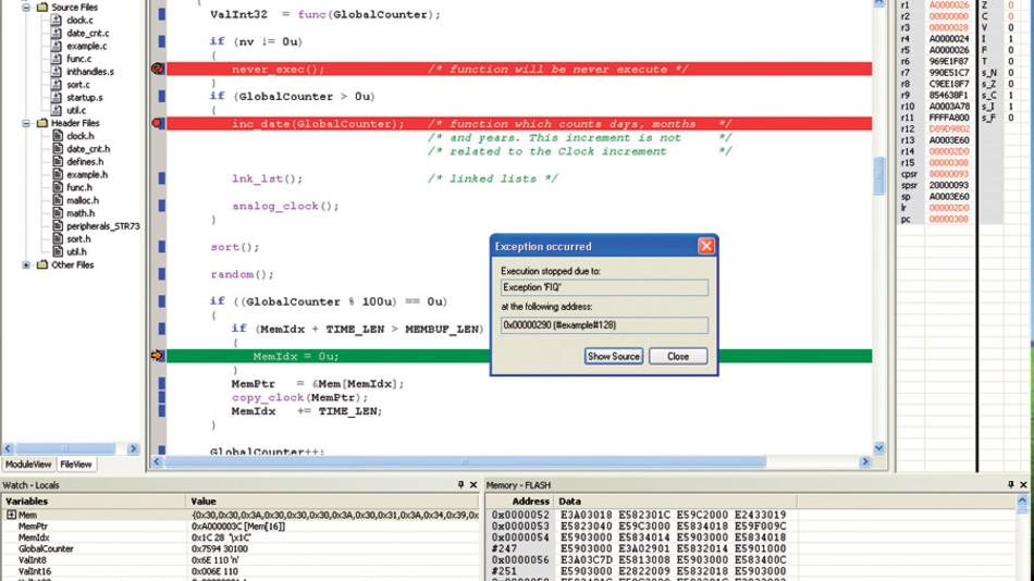 Bild 5. Der Exception-Assistent löst auf eine ARM-Exception oder einen Interrupt aus und hält das Programm beim Auftreten des Ereignisses an. Anschließend kann man zur zuletzt ausgeführten Programmzeile springen, um die Ursache des Ereignisses zu untersuchen.