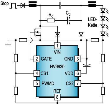 Bild 6. LED-Treiber für Bremslicht auf Basis eines Hoch-Tiefsetzstellers.