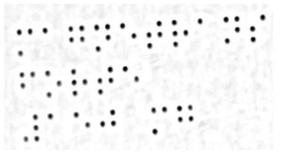 Anhand des 3D-Datensatzes, aus dem die Blindenschrift-Punkte deutlich hervorstechen (Bild oben) lassen sich über Höhenschwellwerte zu niedrig oder zu hoch geprägte Punkte sicher erkennen. Die Graustufen in der 3DForm der mit Blindenschrift geprägten Faltschachtel (Bild unten) repräsentieren die Höhe der Prägung. Von dem an sich störenden Aufdruck ist nichts mehr zu erkennen.