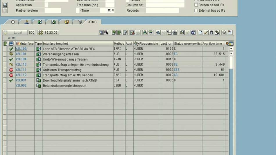 Der Interface-Monitor stellt die Schnittstellen mit dem aktuellen Status dar. Jeder Benutzer sieht genau die Prozesse, an denen er beteiligt ist und für die er berechtigt ist.
