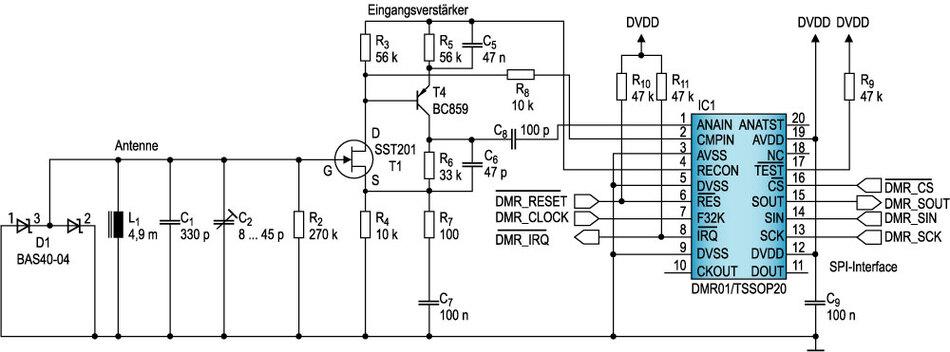 Bild 6. Empfamgsschaltung: Die Eingangsempfindlichkeit lässt sich mit einer einfachen Vorverstärker-Schaltung wie in diesem Beispiel erheblich steigern.