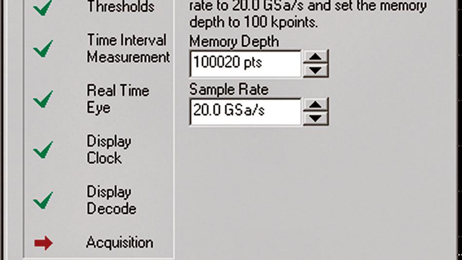 Bild 1. Beispiel für ein assistentengestütztes System zur Analyse serieller Verbindungen. In der Konfigurationsphase zeigt der Assistent an, wie lange das Einsynchronisieren der Taktrückgewinnungs-PLL dauert.