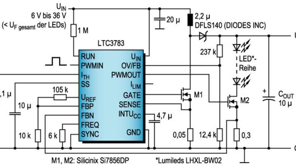 Bild 1. Der LTC3783 enthält leistungsfähige MOSFET-Treiber für eine hohe Ausgangsleistung bei einem Cluster von LEDs.