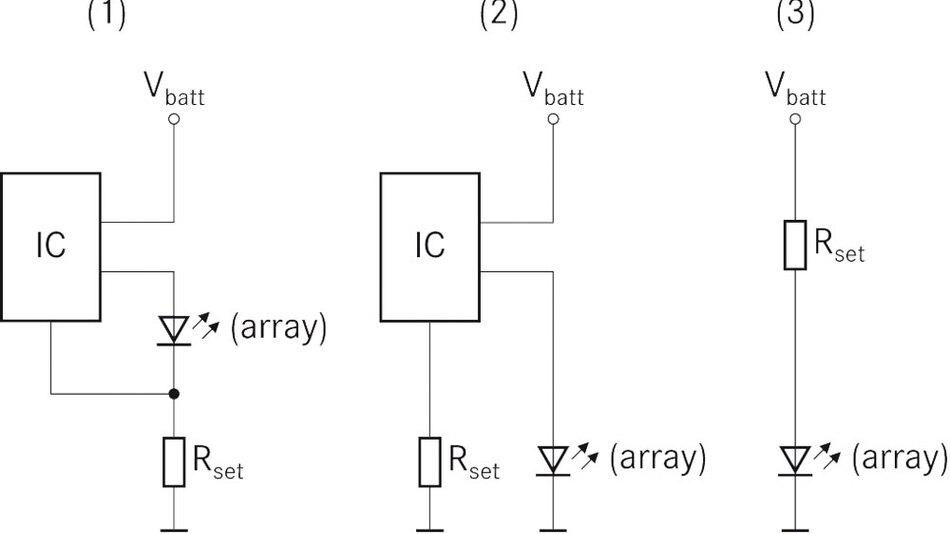 Bild 2. Bei diesen Ansteuerschaltungen ist der Strom, der die LED durchfließt, unabhängig von der Temperatur; das erforderliche Derating bei hohen Temperaturen erfolgt daher nicht