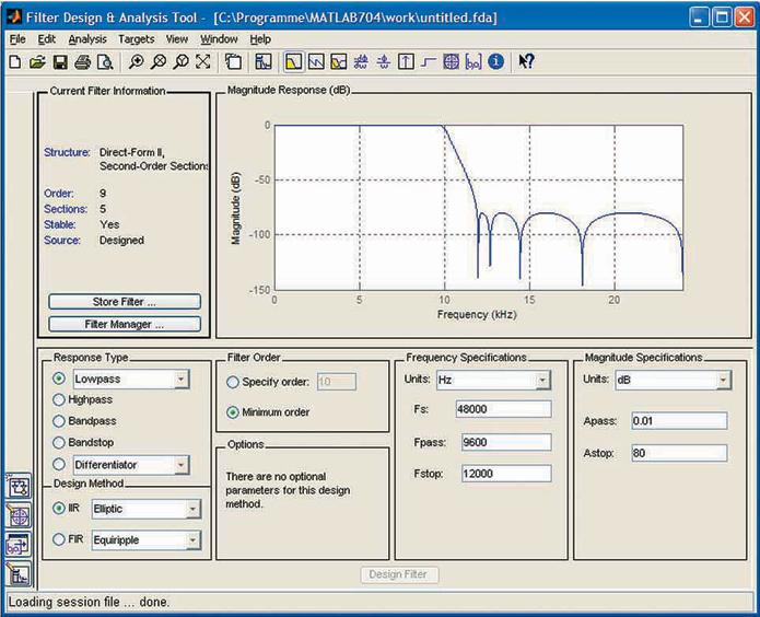 Bild 1. Entwurfsfenster für ein rekursives Filter 9. Ordnung.