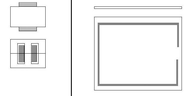 Bild 2. Vergleich zwischen einem induktiven Bauelement mit E-Kern und einem induktiven Bauelement mit planarem Aufbau.