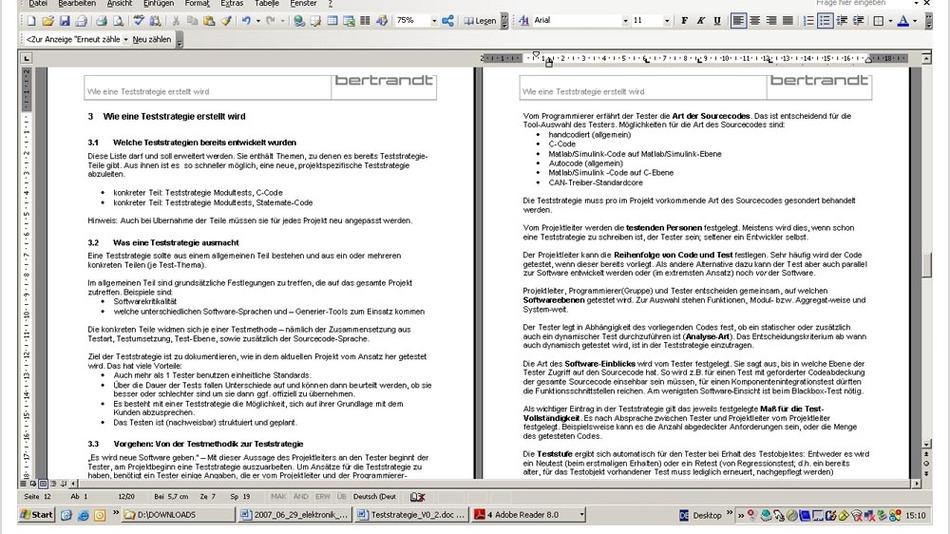 Bild 5. Das Vorgehen bei der Erstellung einer Teststrategie ist detailliert dokumentiert.