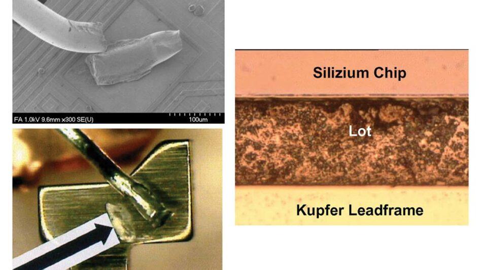 Bild 2: Beispiele für Bond-Drahtabheber auf dem Chip, auf dem Pin und ermüdetes Chip-Lot.