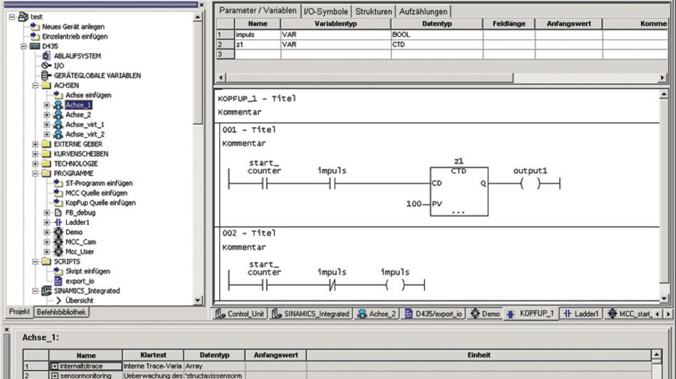 Bild 3 Das Engineering-System »Scout« mit Projektbaum und Arbeitsfeld