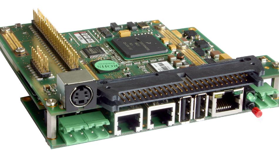 Bild 1. Beispiel eines typischen Computermodul-Systemdesigns: miriac-MPX-System. Auf dem Computermodul befinden sich die Standardfunktionen Prozessor, Grafik usw., auf dem Träger-Board die anwendungsspezifischen I/O-Schnittstellen.