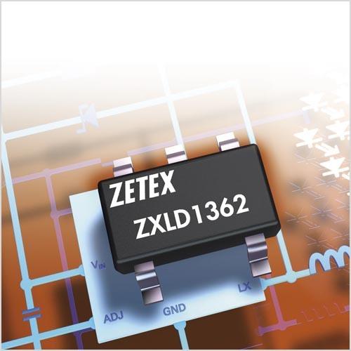 Der LED-Treiber ZXLD1362 von Zetex arbeitet mit Betriebsspannungen von 6 V bis 60 V, erzielt eine Effizienz von 95 Prozent und kann mit einem einstellbaren Ausgangsstrom bis 1 A bis zu 16 weiße Leistungs-LEDs ansteuern.