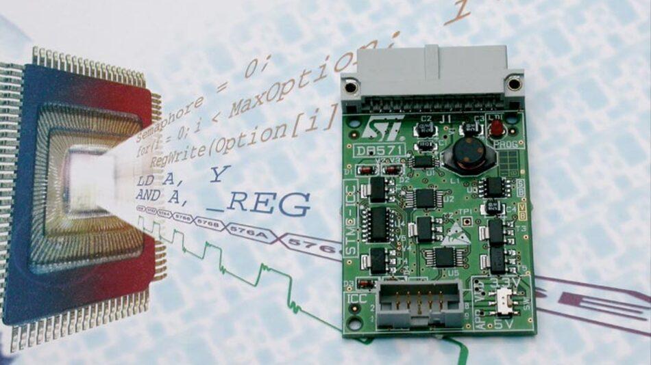 """Bild 3. Mit dem Erweiterungsboard """"ST7-ICD-Emulator"""" kann der Entwickler das Debugging von der Designphase bis hin zur fertigen Anwendung immer mit der gleichen Umgebung durchführen."""