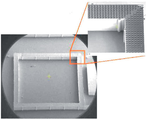Bild 4. c)  Der gefertigte TEG: Die Thermoelemente bestehen aus Poly-SiGe.