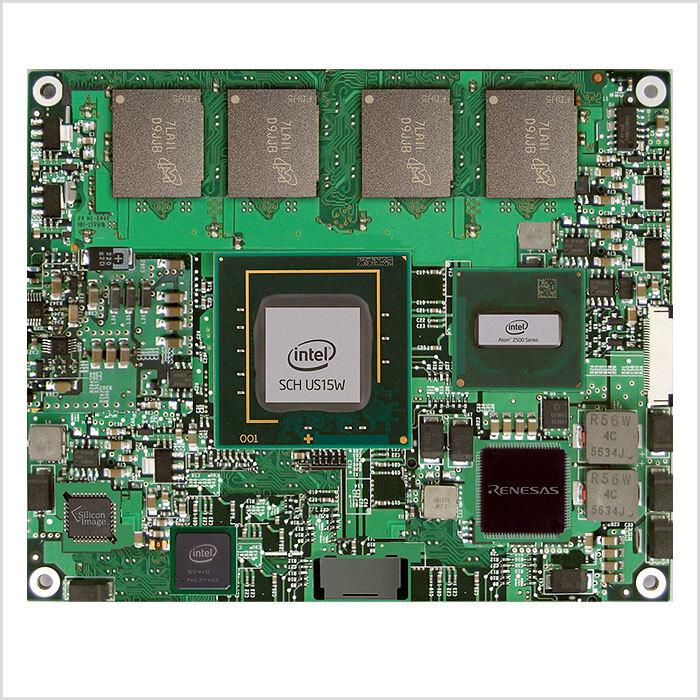 """Bild 3. Das Modul Procelerant CE Z500 in COM-Express-Bauform wird dominiert vom Ein-Chip-""""Chipsatz"""" US15W in der Mitte. Der Atom-Prozessor ist der kleinere Chip rechts daneben."""