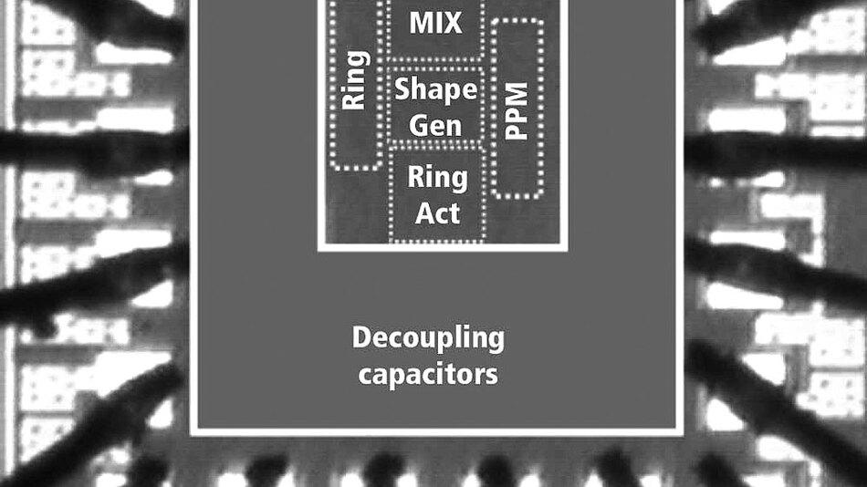 Bild 3. Chip-Foto des UWB-Pulsers, der in 0,18-µm-CMOS-Technologie realisiert wurde.