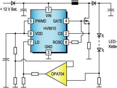Bild 5. LED-Treiber für eine Armaturenbrett-Hintergrundbeleuchtung mit Hochsetzsteller.