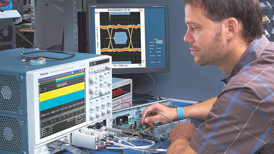 Bild 2. Eine derzeit neue Speed- und Leistungskategorie bei den Mixed-Signal-Scopes eröffnet die Serie 70000.