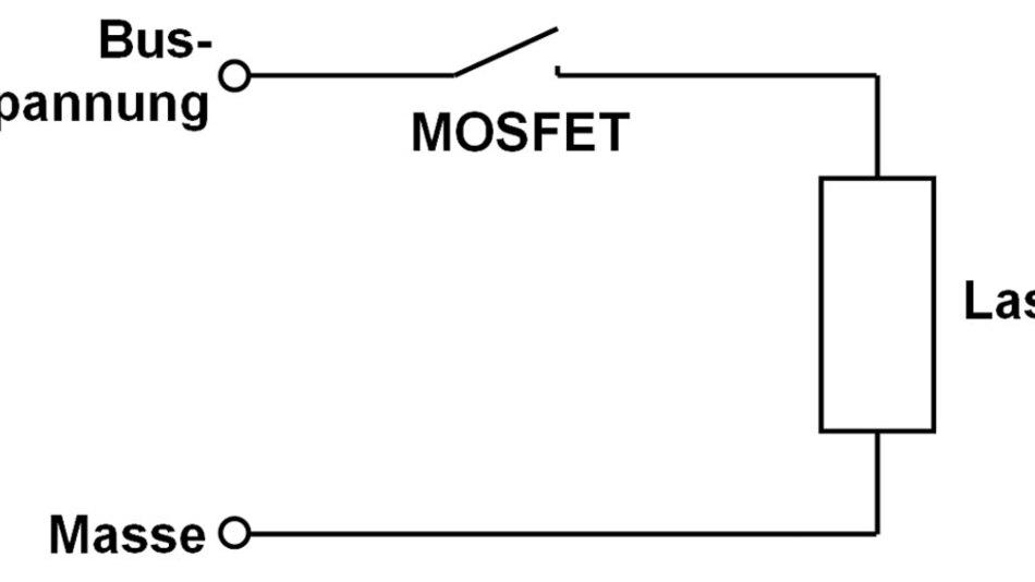 Bild 3. MOSFET (schematisiert) als High-Side-Schalter